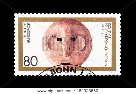 GERMANY - CIRCA 1994 : Cancelled postage stamp printed by Germany, that shows Antique mask.
