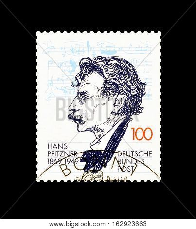 GERMANY - CIRCA 1994 : Cancelled postage stamp printed by Germany, that shows Hans Pfitzner.