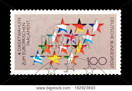 GERMANY - CIRCA 1994 : Cancelled postage stamp printed by Germany, that shows stars and flags.