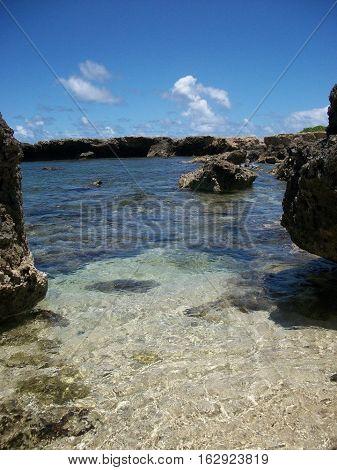 Pacific Ocean, Hawaiian cove, beautiful water and sky