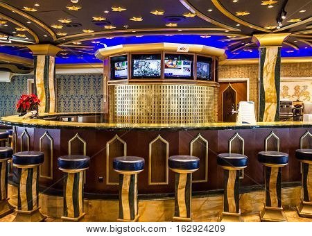 Cruise liner Costa Mediterranea - May 9, 2016: Modern bar interior in Cruise liner Costa Mediterranea