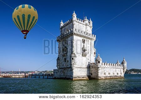 Belem tower hot air balloon, Lisbon, Portugal