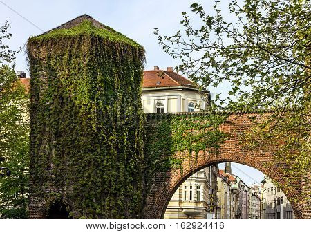 Munich city gate, Germany.Old town architecture, Germany.