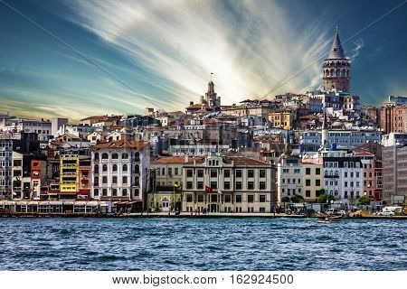 Istanbul city architecture, Turkey. Galata tower building