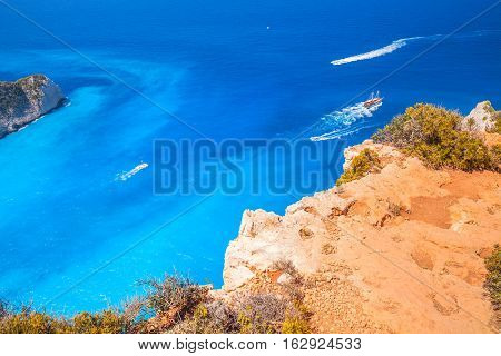 Touristic Pleasure Boats In Navagio Bay, Greece