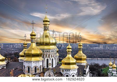 Kiev, Ukraine. Sunset view on Pechersk Lavra Monastery