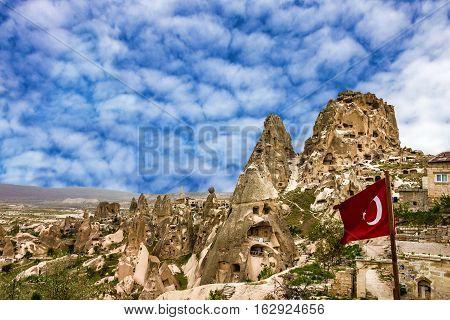 Turkish fortress Uchisar Goreme landscape in Cappadocia, Turkey