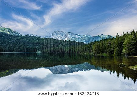 Natural landscape. Mountain lake, Montenegro, Durmitor national park