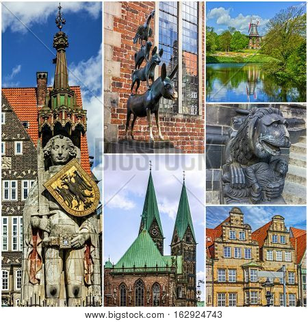 Bremen landmarks collage, Germany. German lanmarks and architecture