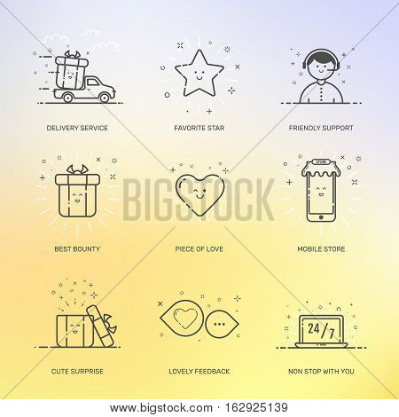Vector illustration of icons set shopping commerce, marketing, business concept in line style. Linear design for internet, banner, web and mobile app. Outline object e-commerce on blurred background.