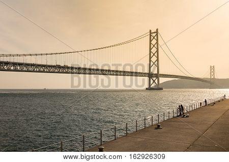 Akashi Kaikyo Bridge,  Kobe Japan ,the great architecture of suspension bridge, spanning the Seto Inland Sea from Awaji Island