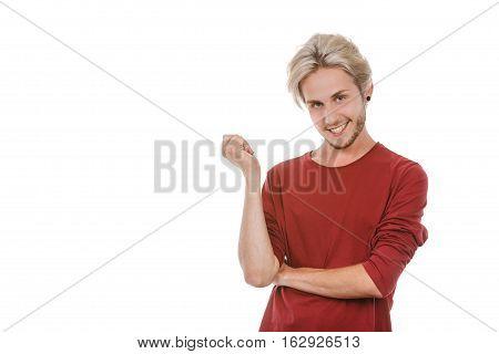 Concept of joy. Happy joyful young man stylish bearded male smiling laughing isolated on white
