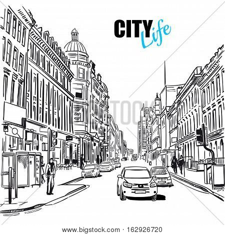 Black and white sketch city street with street view cars and buildings vector illustration
