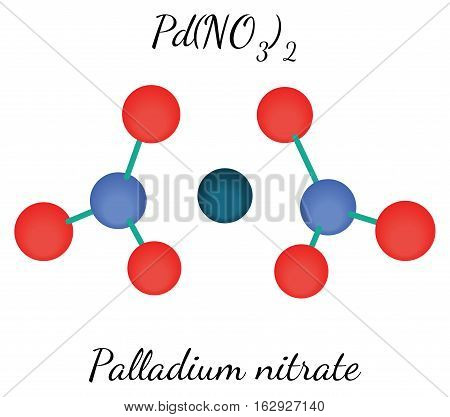 Palladium nitrate PdN2O6 molecule isolated on white