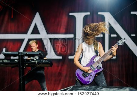 TOLMIN, SLOVENIA - JULY 28TH: DUTCH FEMALE FRONTED SYMPHONIC METAL BAND DELIAN PERFORMING AT METALDAYS FESTIVAL ON JULY 28TH, 2016 IN TOLMIN, SLOVENIA
