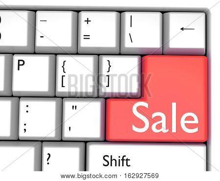 Word SALE on red key on computer keyboard. 3d render