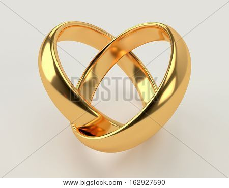 Heart with two connected gold wedding rings. 3d rendering