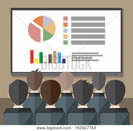 large tv screen with chart pie do presentation to other business people. Training staff, meeting, report, business school. vector illustration in flat style