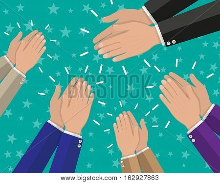 Human hands clapping. applaud hands. vector illustration in flat style