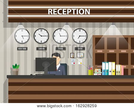 interior of wooden reception with receptionist, computer, pen, safety boxes, clocks, document paper. hotel hostel lobby, tourism concept, vector illustration in flat design