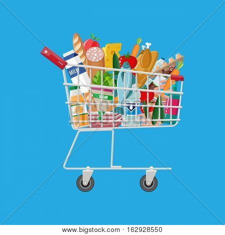 Metal shopping cart full of groceries products. Grocery store. vector illustration in flat style