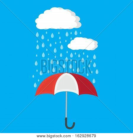 Umbrella and rain with clouds. vector illustration in flat style
