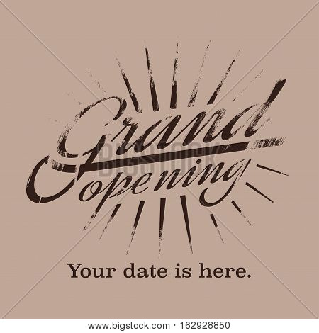 Grand opening vector illustration background with lettering sign. Template banner flyer design element decoration for opening ceremony