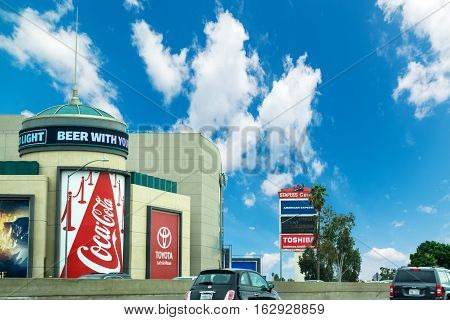 LOS ANGELES CALIFORNIA - OCTOBER 27 2016: Commercial billboards in downtown