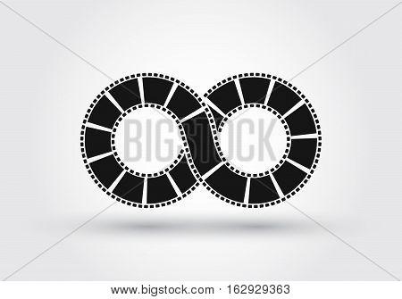 Infinite strip of film. Conceptual vector logotype