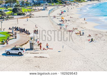 Laguna Beach California - november 03 2016: People in Laguna Beach shoreline