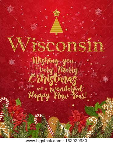 Wisconsin Merry Christmas and a Happy New Year greeting vector card on red background with snowflakes.