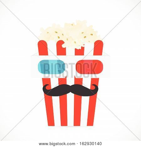 Illustration of 3d glasses and a large popcorn