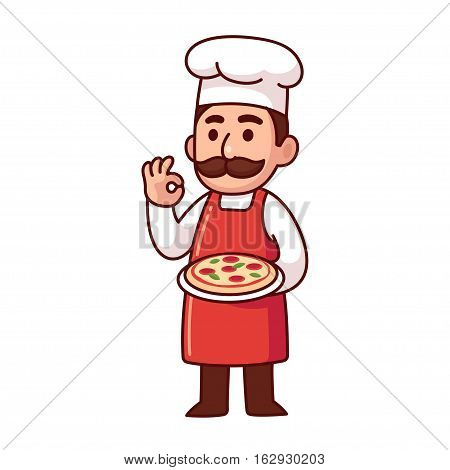Cartoon Italian chef holding pizza making traditional Bon Appetit gesture. Cute vector illustration.