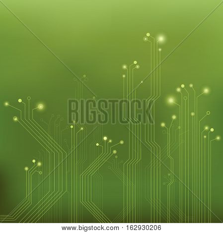 Circuit board illustration on a colorful green background