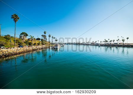 blue water in Oceanside harbor in California