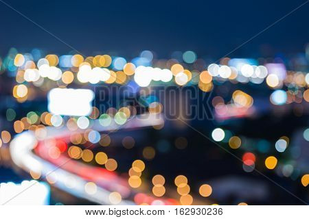 Night blurred lights city road curved, abstract background