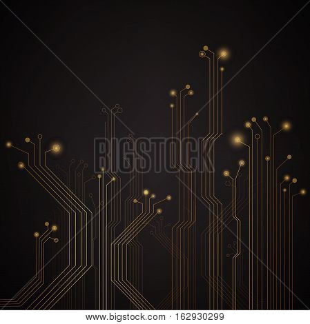 Illustration of a black and gold circuit board background.
