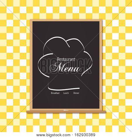 Menu chalkboard illustration on a yellow gingham cloth background