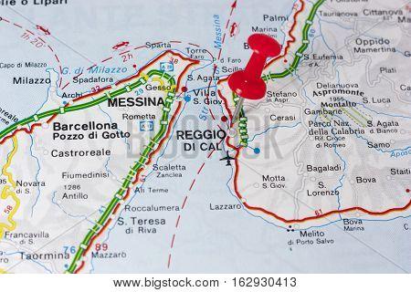 Closeup of Reggio Calabria Italy On A Map