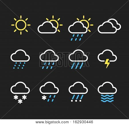 Weather line icons set. Sunny clouds different types of precipitation rain and snow. Vector pictograms on dark background.