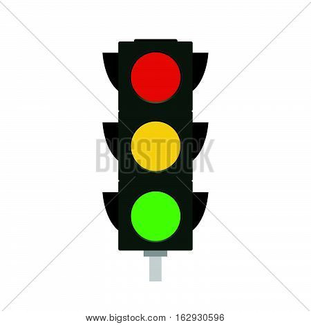 Flat illustration of a traffic light isolated on a white background.