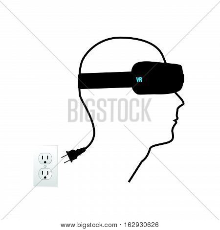Virtual reality illustration on a white background.