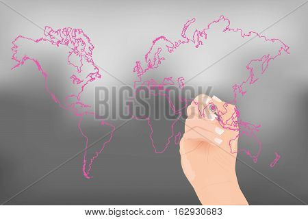 Hand drawing a world map with colorful marker.