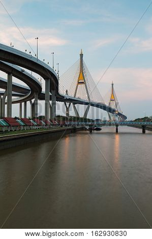 Twin suspension bridged over Watergate in Bangkok Thailand