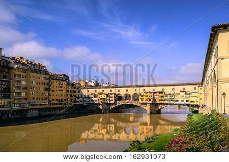 Ponte Vecchio - Florence, Arno river. From Uffizi.