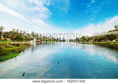 Echo Park in Los Angeles downtown California
