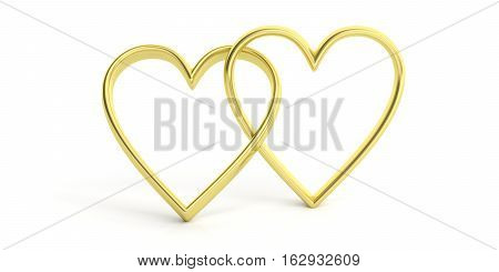 3D Rendering Joined Hearts On White Background