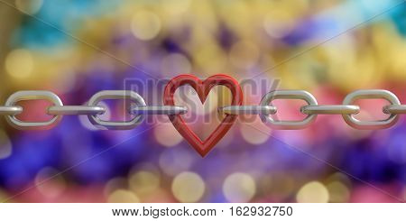 3D Rendering Heart In A Chain On Bokeh Background