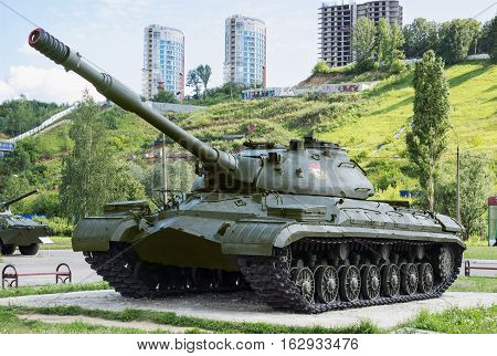 RUSSIA NIZHNY NOVGOROD CIRCA JUL 2015: Soviet heavy tank T-10M manufactured in 1966 exhibition in N.Novgorod. Appliances in good condition the exhibition is open all year round