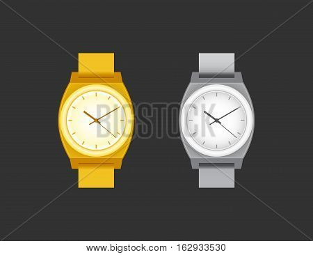 Wrist Watch unisex golden and silver color on black field. Stylish accessory.